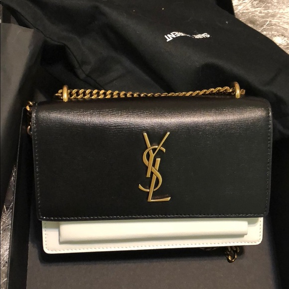 fc403875d5c Yves Saint Laurent Bags | Ysl Sunset Black Pearl White Leather New ...